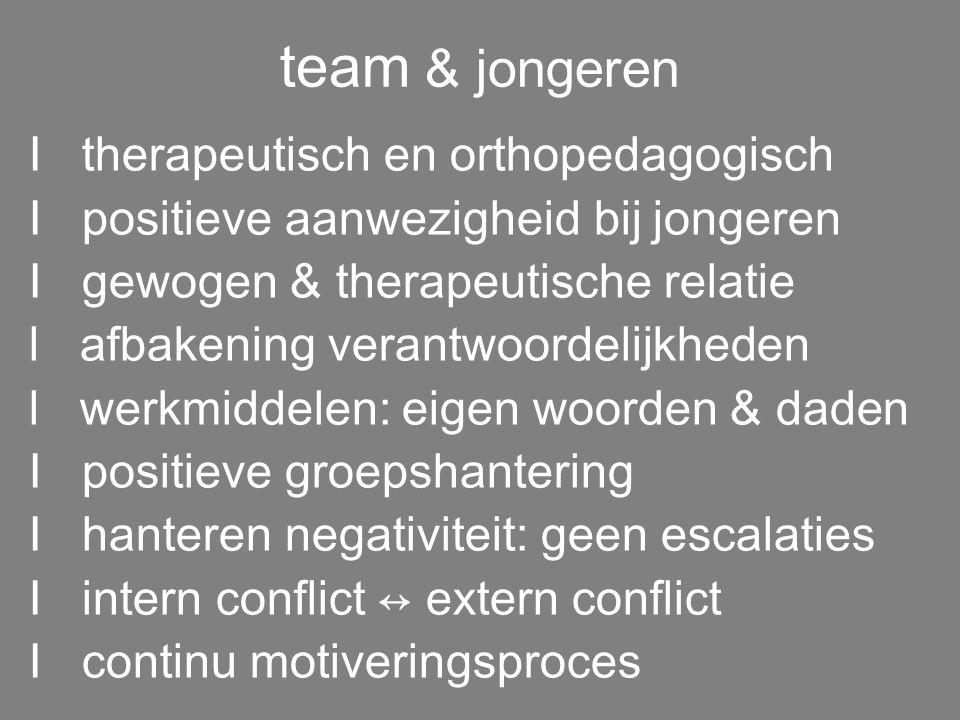 Controle symptomen Relatieopbouw Leeftijdsadequaat Fasen functioneren Groepsleiding/team Groepsleiding/team Groepsleiding/team Fase -1 Fase 1 Fase 2 F