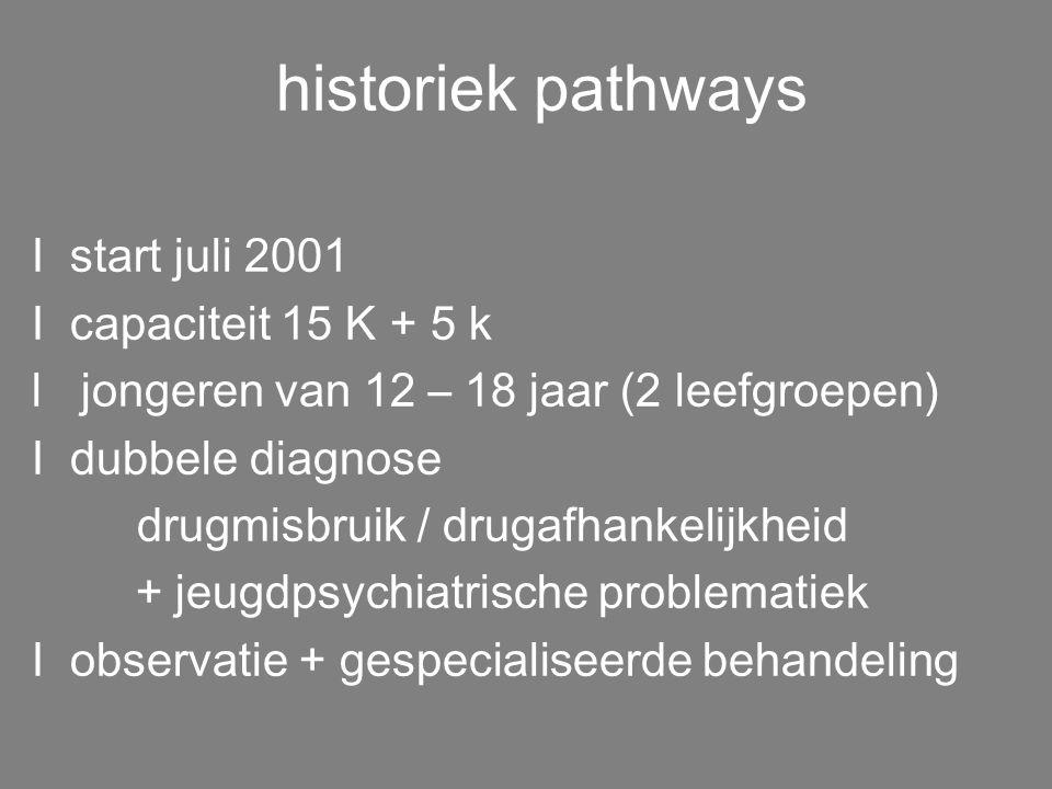 opdracht pathways I gespecialiseerde K-dienst I ontwikkeling observatie- en behandelmodel drugproblematiek Iwetenschappelijk onderzoek I opbouwen expe