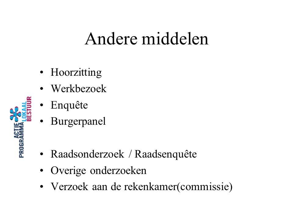 Andere middelen Hoorzitting Werkbezoek Enquête Burgerpanel Raadsonderzoek / Raadsenquête Overige onderzoeken Verzoek aan de rekenkamer(commissie)