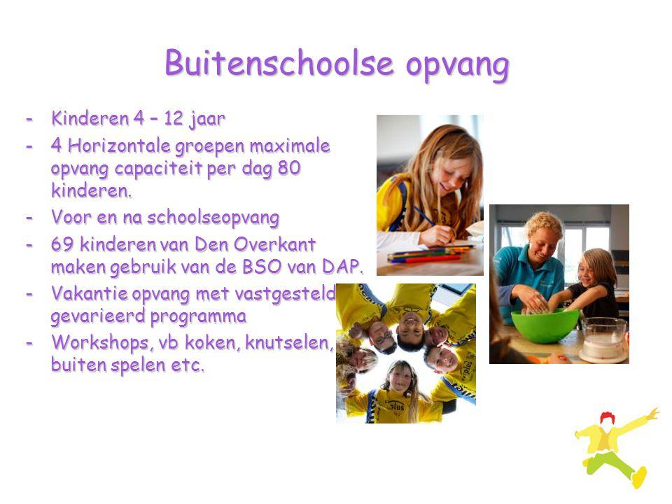 Buitenschoolse opvang -Kinderen 4 – 12 jaar -4 Horizontale groepen maximale opvang capaciteit per dag 80 kinderen. -Voor en na schoolseopvang -69 kind