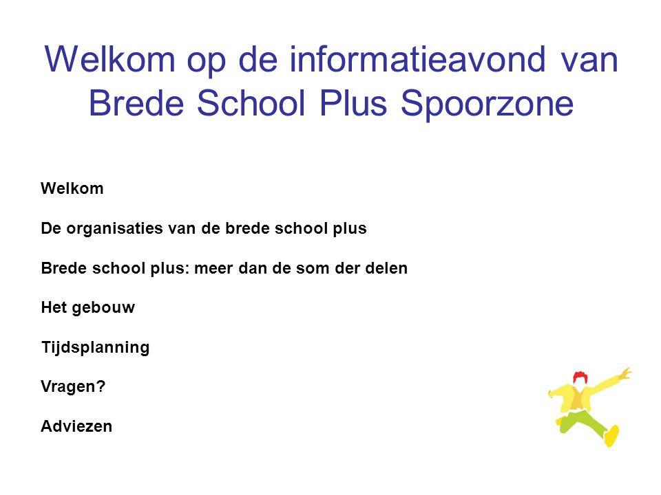 Welkom De organisaties van de brede school plus Brede school plus: meer dan de som der delen Het gebouw Tijdsplanning Vragen? Adviezen