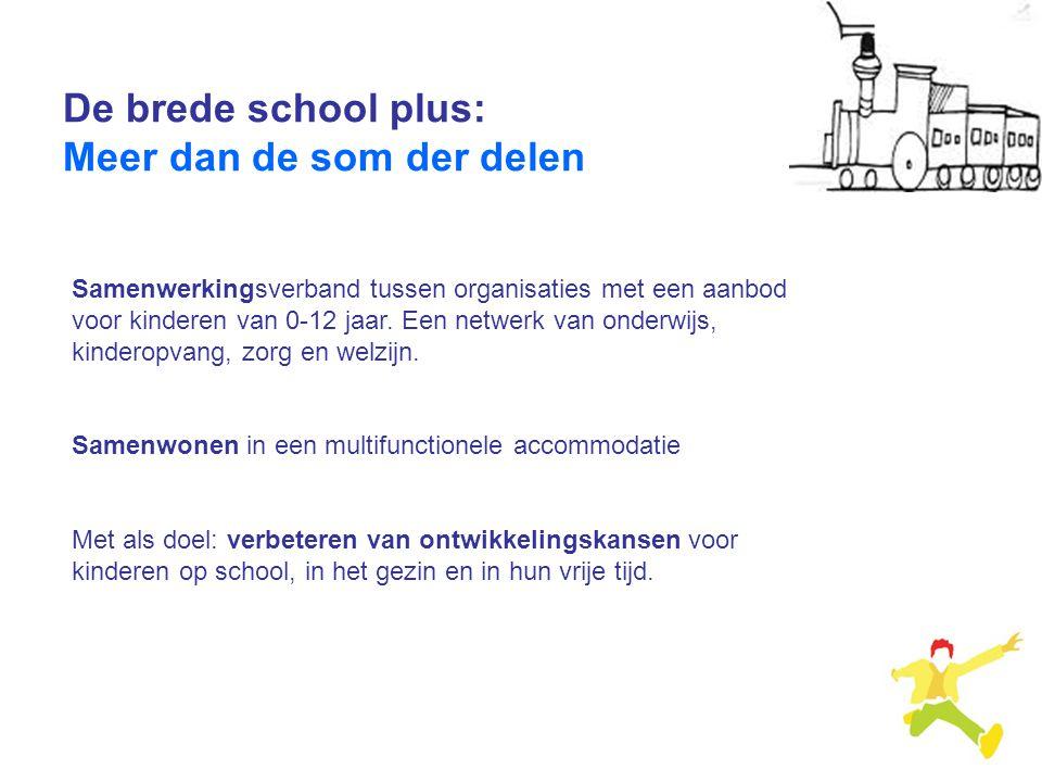De brede school plus: Meer dan de som der delen Samenwerkingsverband tussen organisaties met een aanbod voor kinderen van 0-12 jaar. Een netwerk van o