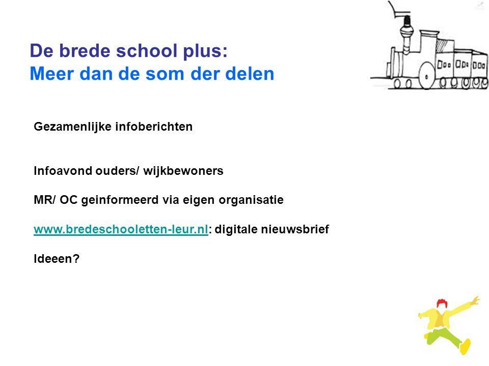 De brede school plus: Meer dan de som der delen Gezamenlijke infoberichten Infoavond ouders/ wijkbewoners MR/ OC geinformeerd via eigen organisatie ww