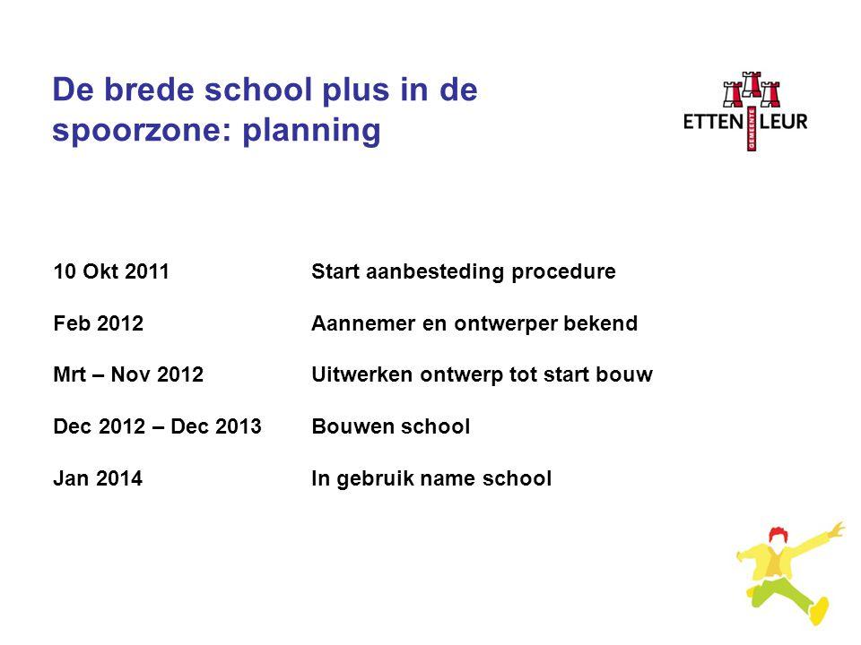 De brede school plus in de spoorzone: planning 10 Okt 2011Start aanbesteding procedure Feb 2012Aannemer en ontwerper bekend Mrt – Nov 2012Uitwerken on