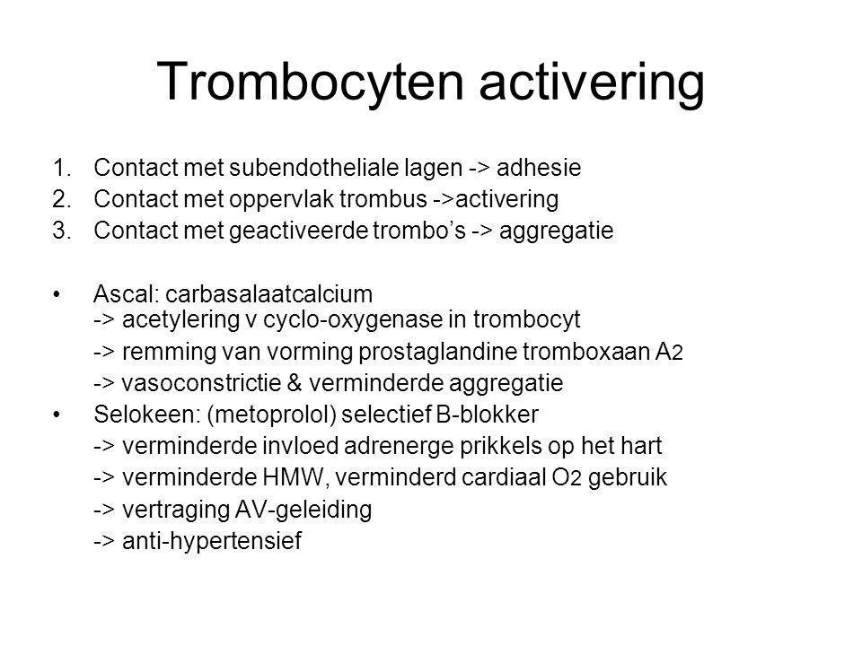 Trombocyten activering 1.Contact met subendotheliale lagen -> adhesie 2.Contact met oppervlak trombus ->activering 3.Contact met geactiveerde trombo's