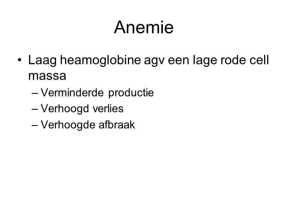 Anemie Laag heamoglobine agv een lage rode cell massa –Verminderde productie –Verhoogd verlies –Verhoogde afbraak