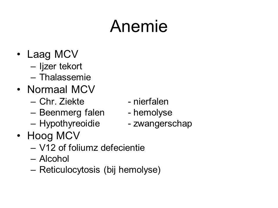 Anemie Laag MCV –Ijzer tekort –Thalassemie Normaal MCV –Chr. Ziekte- nierfalen –Beenmerg falen- hemolyse –Hypothyreoidie- zwangerschap Hoog MCV –V12 o