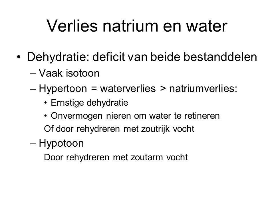 Verlies natrium en water Dehydratie: deficit van beide bestanddelen –Vaak isotoon –Hypertoon = waterverlies > natriumverlies: Ernstige dehydratie Onve