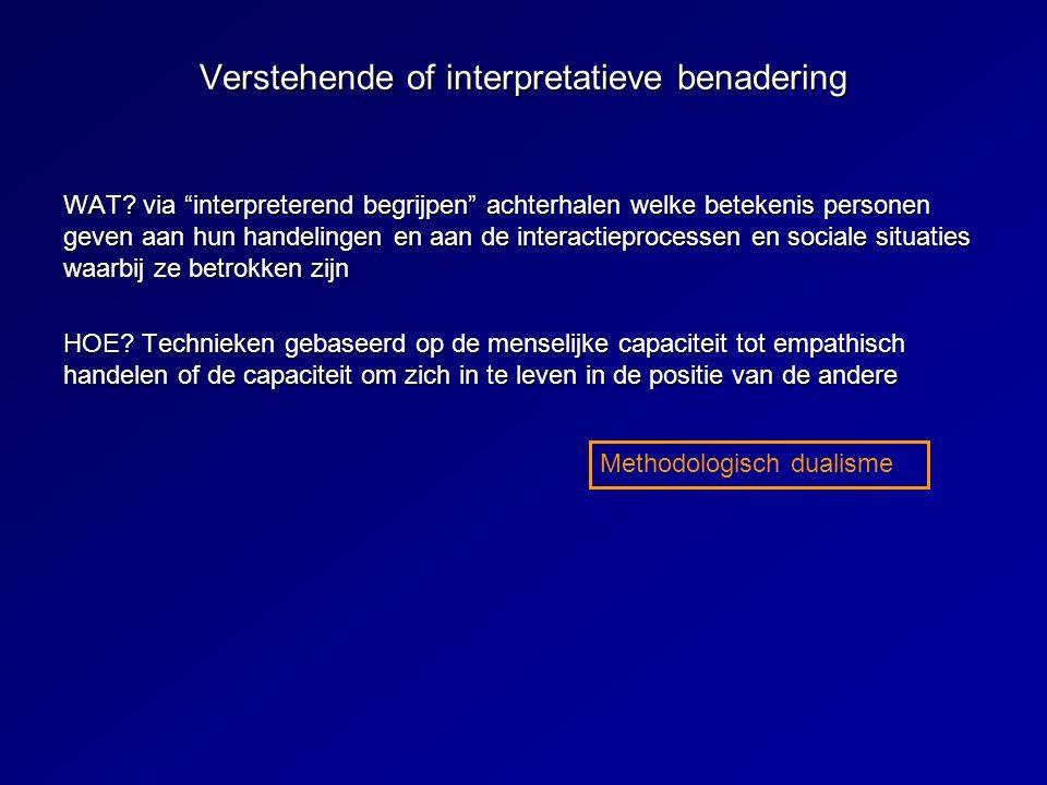 Verstehende of interpretatieve benadering WAT.