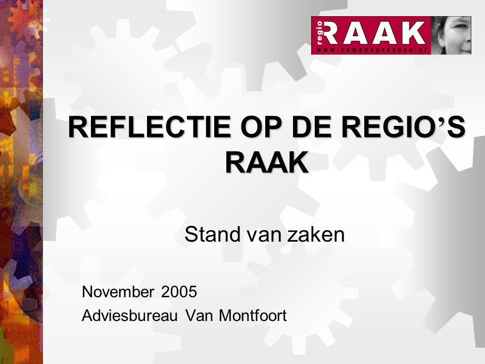 REFLECTIE OP DE REGIO ' S RAAK Stand van zaken November 2005 Adviesbureau Van Montfoort
