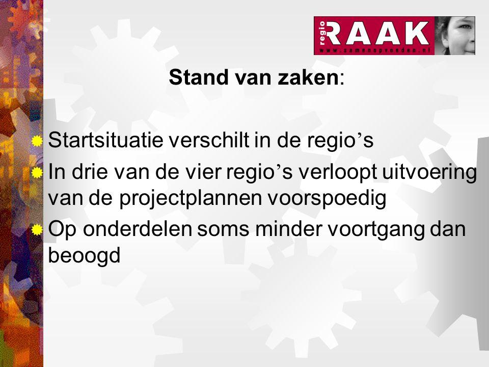 Stand van zaken:  Startsituatie verschilt in de regio ' s  In drie van de vier regio ' s verloopt uitvoering van de projectplannen voorspoedig  Op