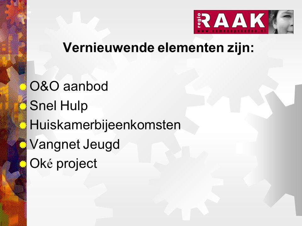 Vernieuwende elementen zijn:  O&O aanbod  Snel Hulp  Huiskamerbijeenkomsten  Vangnet Jeugd  Ok é project