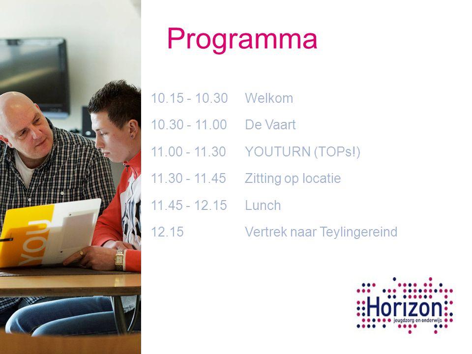 10.15 - 10.30 Welkom 10.30 - 11.00 De Vaart 11.00 - 11.30 YOUTURN (TOPs!) 11.30 - 11.45 Zitting op locatie 11.45 - 12.15 Lunch 12.15 Vertrek naar Teyl
