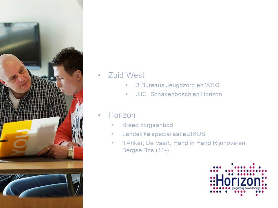 Zuid-West 3 Bureaus Jeugdzorg en WSG JJC. Schakenbosch en Horizon Horizon Breed zorgaanbod Landelijke specialisatie ZIKOS 't Anker, De Vaart, Hand in