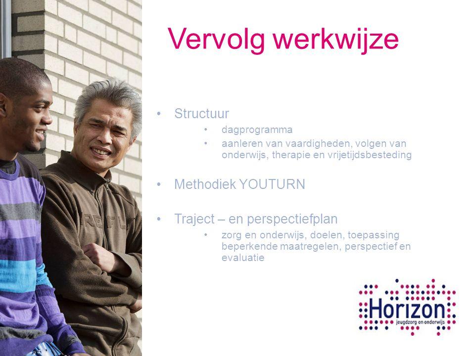 Vervolg werkwijze Structuur dagprogramma aanleren van vaardigheden, volgen van onderwijs, therapie en vrijetijdsbesteding Methodiek YOUTURN Traject –