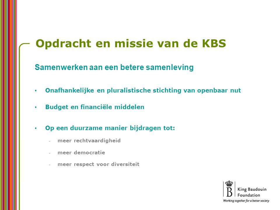 Opdracht en missie van de KBS Onafhankelijke en pluralistische stichting van openbaar nut Budget en financiële middelen Op een duurzame manier bijdragen tot: - meer rechtvaardigheid - meer democratie - meer respect voor diversiteit Samenwerken aan een betere samenleving
