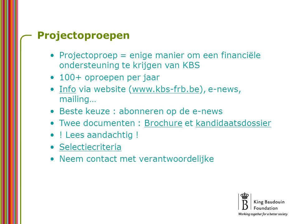 Projectoproepen Projectoproep = enige manier om een financiële ondersteuning te krijgen van KBS 100+ oproepen per jaar Info via website (www.kbs-frb.be), e-news, mailing…www.kbs-frb.be Beste keuze : abonneren op de e-news Twee documenten : Brochure et kandidaatsdossier .