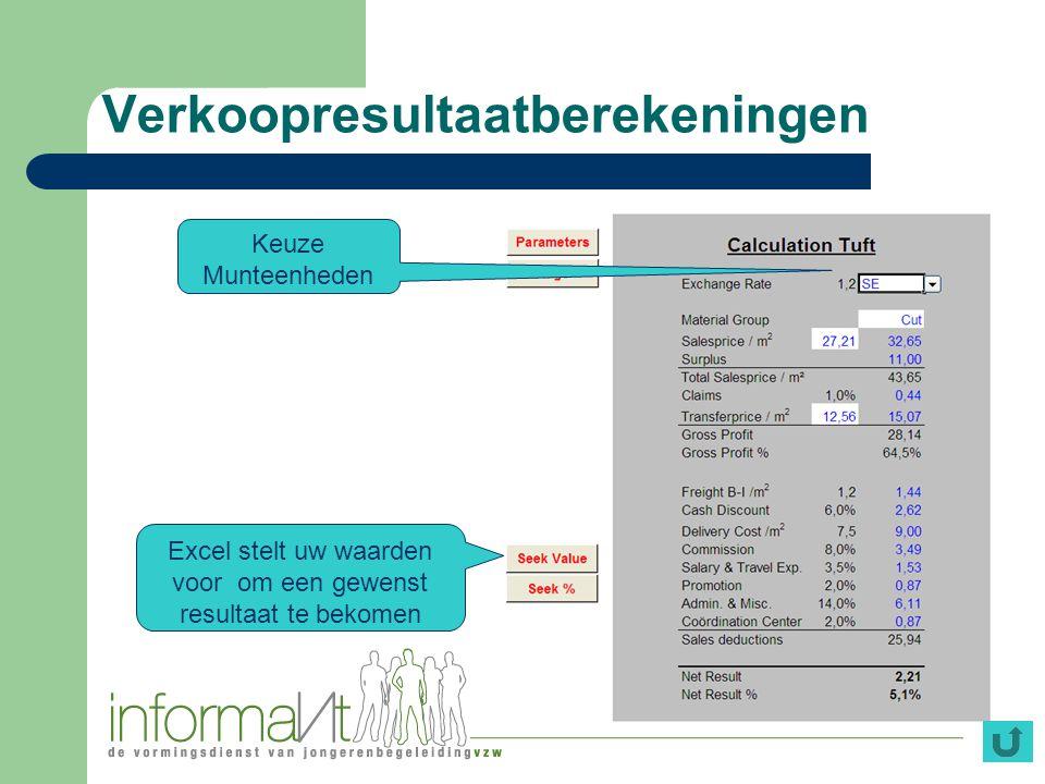 Verkoopresultaatberekeningen Keuze Munteenheden Excel stelt uw waarden voor om een gewenst resultaat te bekomen