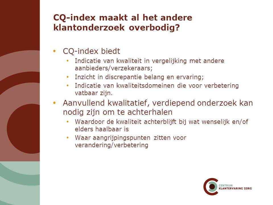 CQ-index maakt al het andere klantonderzoek overbodig?  CQ-index biedt  Indicatie van kwaliteit in vergelijking met andere aanbieders/verzekeraars;