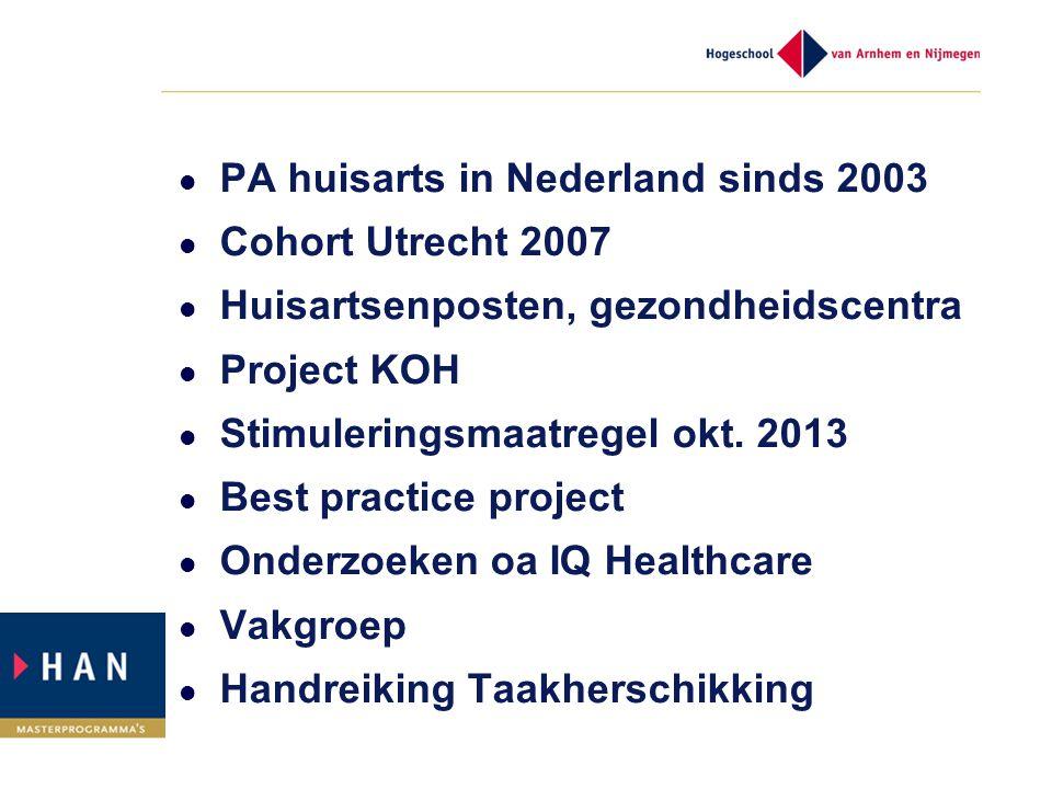 PA huisarts in Nederland sinds 2003 Cohort Utrecht 2007 Huisartsenposten, gezondheidscentra Project KOH Stimuleringsmaatregel okt. 2013 Best practice