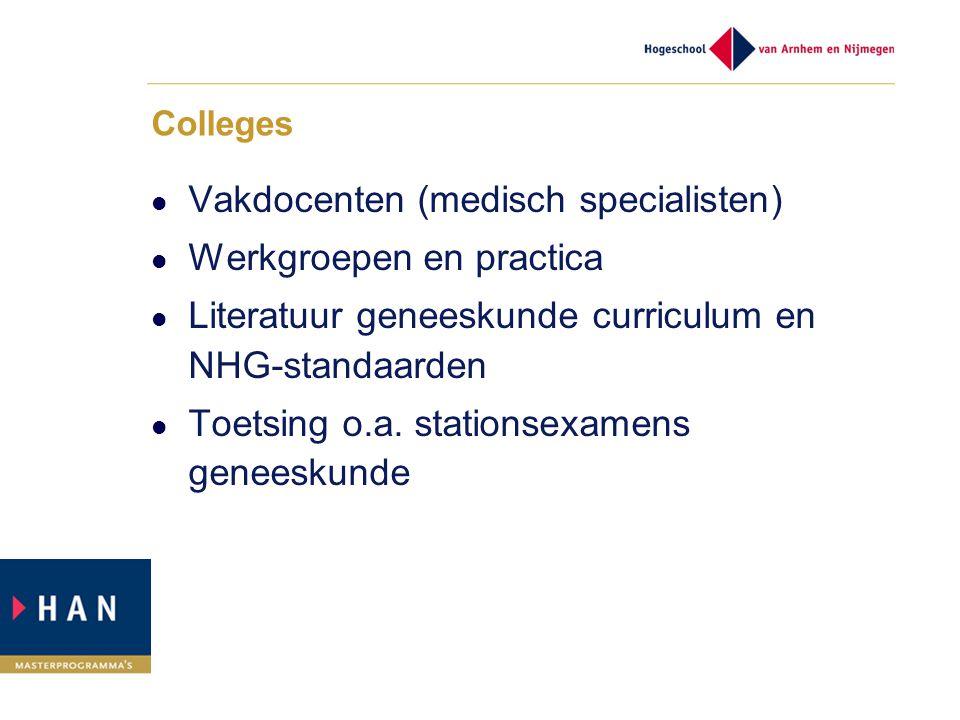 Colleges Vakdocenten (medisch specialisten) Werkgroepen en practica Literatuur geneeskunde curriculum en NHG-standaarden Toetsing o.a. stationsexamens