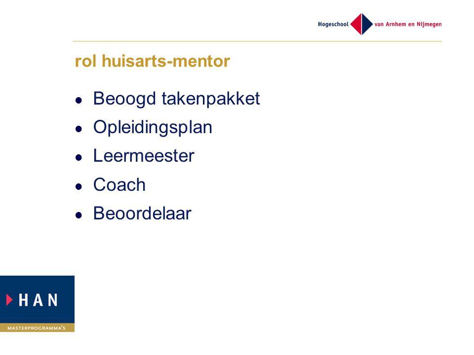 rol huisarts-mentor Beoogd takenpakket Opleidingsplan Leermeester Coach Beoordelaar