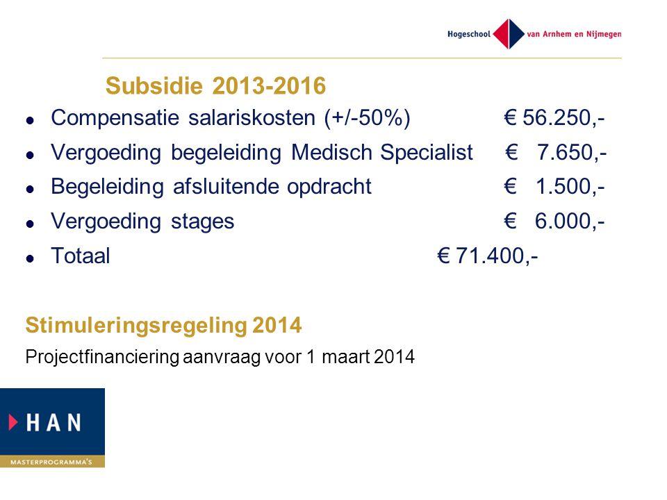 Subsidie 2013-2016 Compensatie salariskosten (+/-50%) € 56.250,- Vergoeding begeleiding Medisch Specialist € 7.650,- Begeleiding afsluitende opdracht