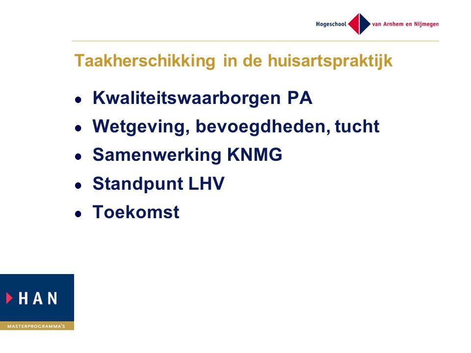 Taakherschikking in de huisartspraktijk Kwaliteitswaarborgen PA Wetgeving, bevoegdheden, tucht Samenwerking KNMG Standpunt LHV Toekomst