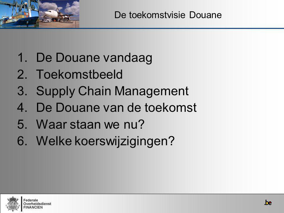 1.De Douane vandaag 2.Toekomstbeeld 3.Supply Chain Management 4.De Douane van de toekomst 5.Waar staan we nu? 6.Welke koerswijzigingen? De toekomstvis