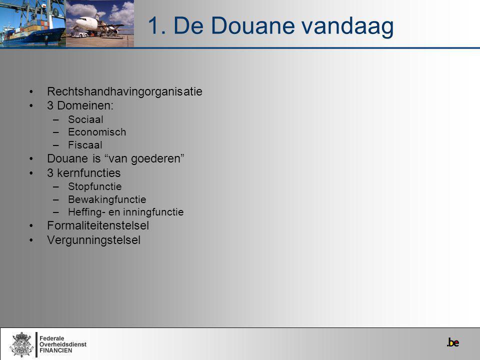 """Rechtshandhavingorganisatie 3 Domeinen: –Sociaal –Economisch –Fiscaal Douane is """"van goederen"""" 3 kernfuncties –Stopfunctie –Bewakingfunctie –Heffing-"""