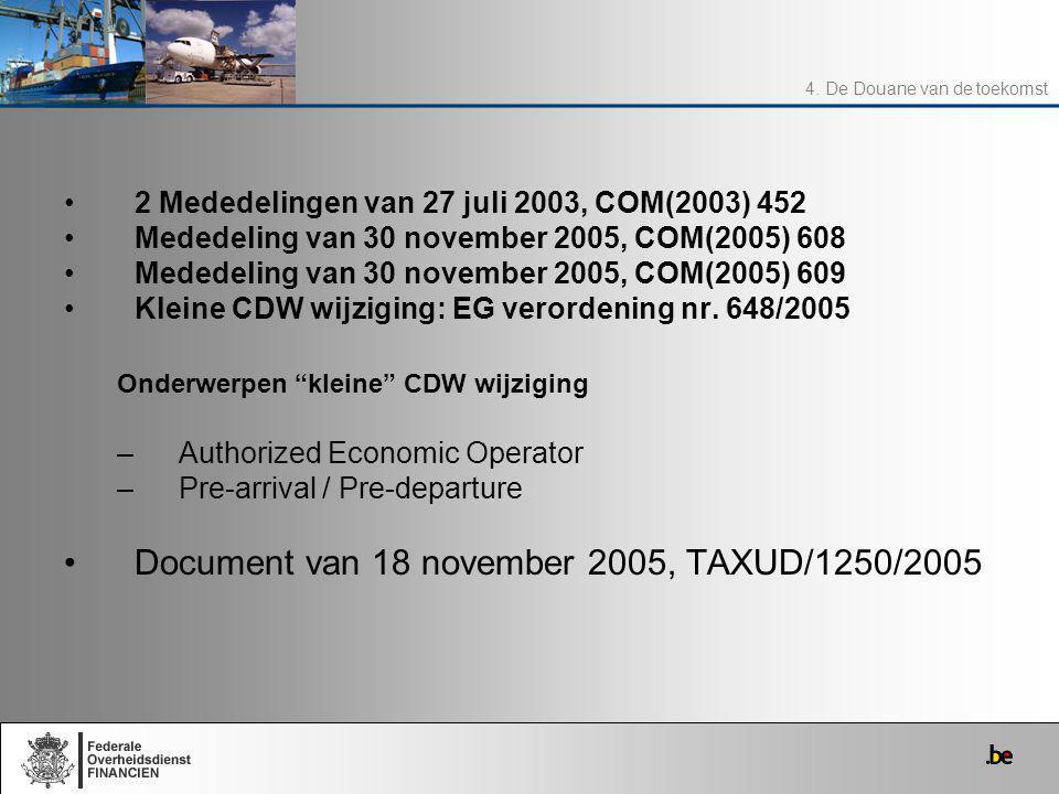 2 Mededelingen van 27 juli 2003, COM(2003) 452 Mededeling van 30 november 2005, COM(2005) 608 Mededeling van 30 november 2005, COM(2005) 609 Kleine CD