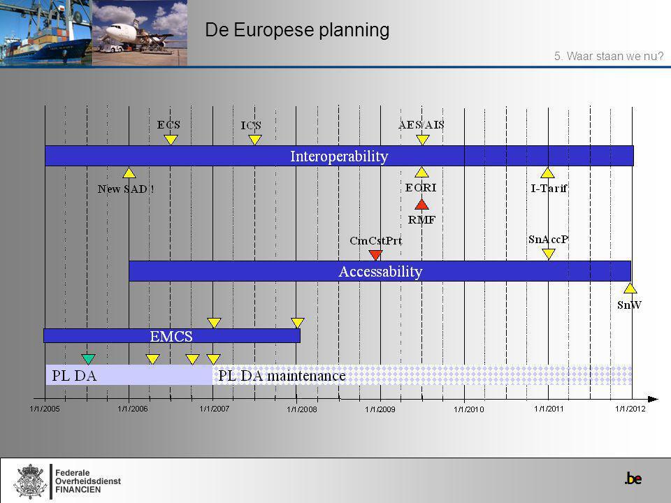 De Europese planning 5. Waar staan we nu?