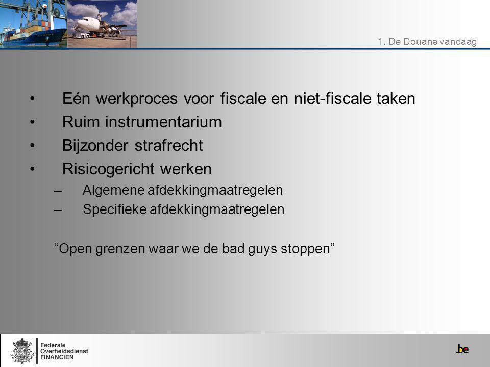 Eén werkproces voor fiscale en niet-fiscale taken Ruim instrumentarium Bijzonder strafrecht Risicogericht werken –Algemene afdekkingmaatregelen –Speci