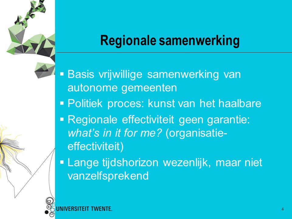 4 Regionale samenwerking  Basis vrijwillige samenwerking van autonome gemeenten  Politiek proces: kunst van het haalbare  Regionale effectiviteit g