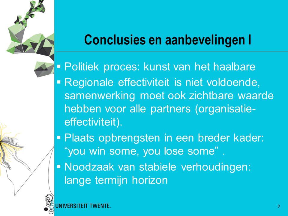 9 Conclusies en aanbevelingen I  Politiek proces: kunst van het haalbare  Regionale effectiviteit is niet voldoende, samenwerking moet ook zichtbare