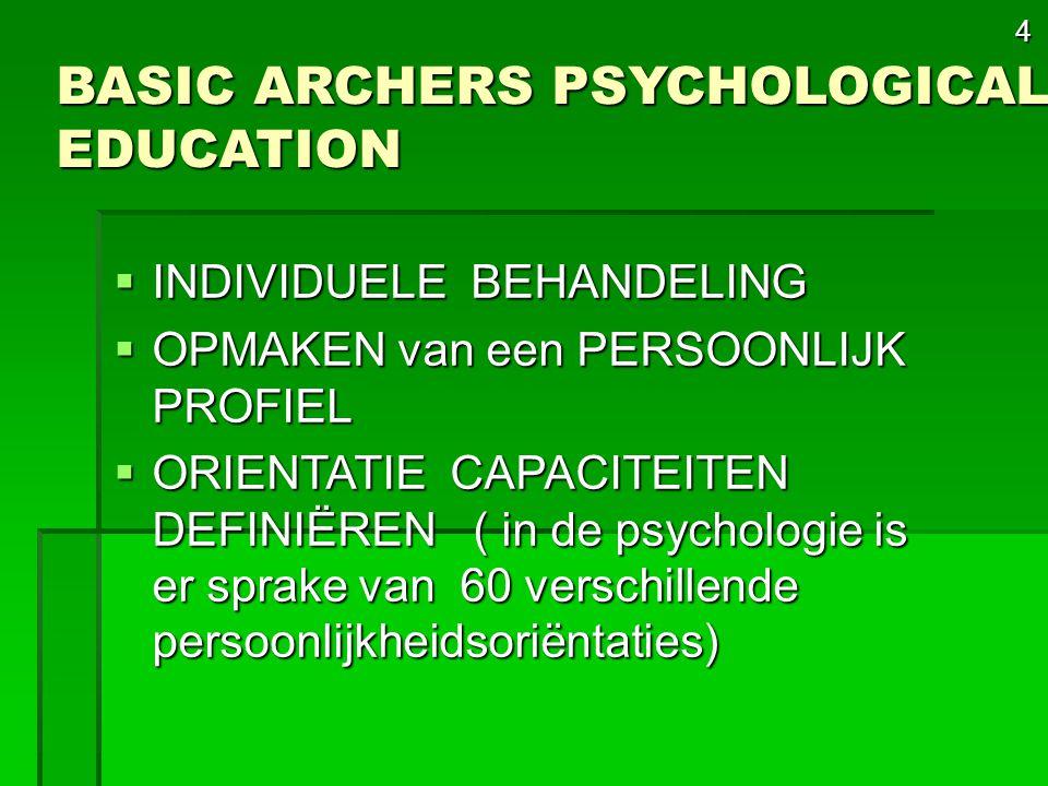 4 BASIC ARCHERS PSYCHOLOGICAL EDUCATION  INDIVIDUELE BEHANDELING  OPMAKEN van een PERSOONLIJK PROFIEL  ORIENTATIE CAPACITEITEN DEFINIËREN ( in de psychologie is er sprake van 60 verschillende persoonlijkheidsoriëntaties)