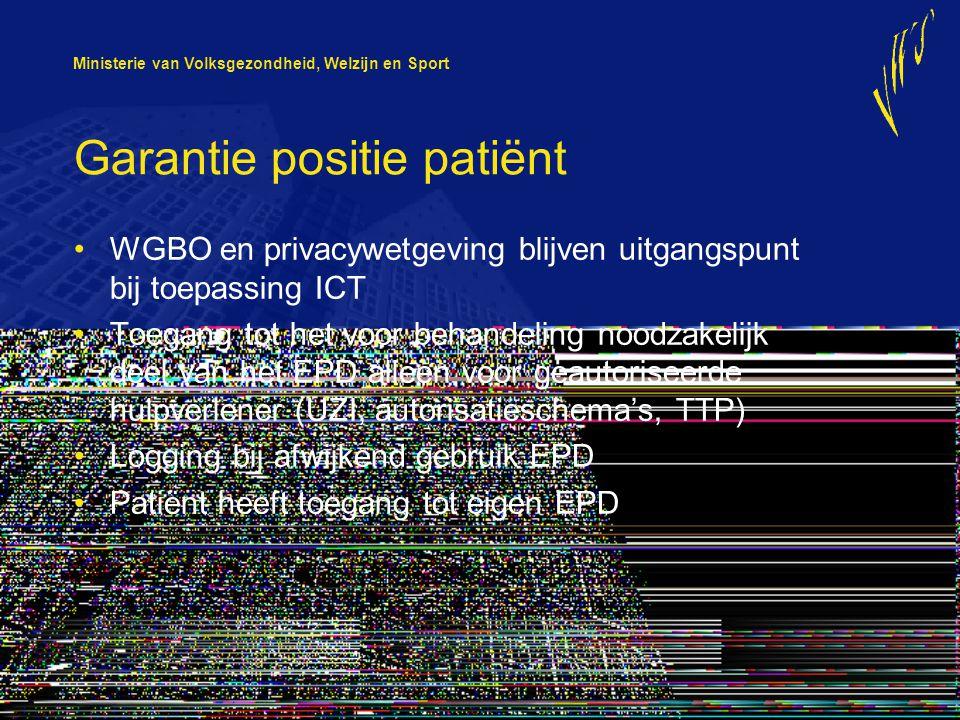 Ministerie van Volksgezondheid, Welzijn en Sport Garantie positie patiënt WGBO en privacywetgeving blijven uitgangspunt bij toepassing ICT Toegang tot