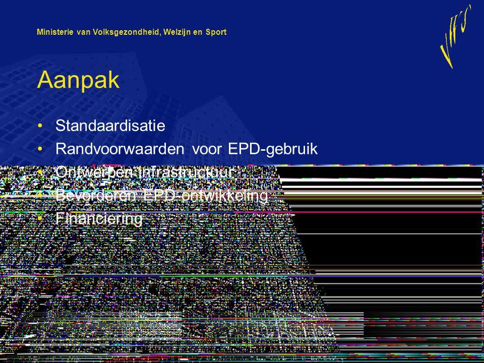 Ministerie van Volksgezondheid, Welzijn en Sport Aanpak Standaardisatie Randvoorwaarden voor EPD-gebruik Ontwerpen infrastructuur Bevorderen EPD-ontwi