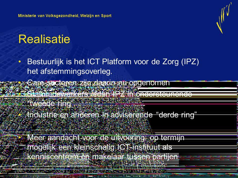 Ministerie van Volksgezondheid, Welzijn en Sport Realisatie Bestuurlijk is het ICT Platform voor de Zorg (IPZ) het afstemmingsoverleg. Care-sectoren z