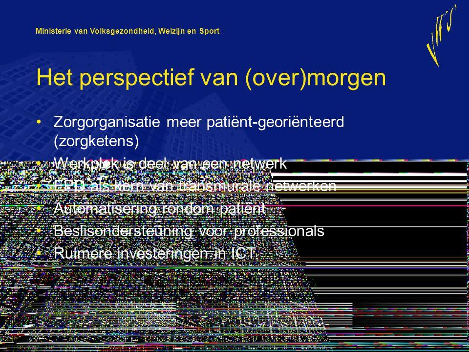 Ministerie van Volksgezondheid, Welzijn en Sport Het perspectief van (over)morgen Zorgorganisatie meer patiënt-georiënteerd (zorgketens) Werkplek is d
