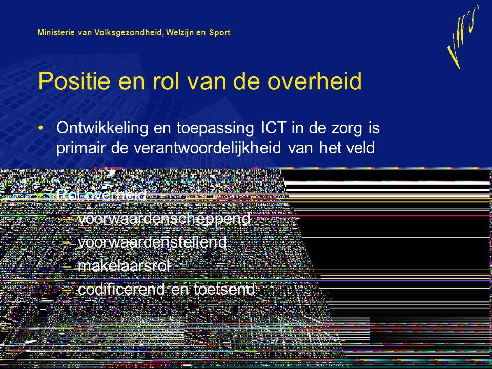 Ministerie van Volksgezondheid, Welzijn en Sport Positie en rol van de overheid Ontwikkeling en toepassing ICT in de zorg is primair de verantwoordeli