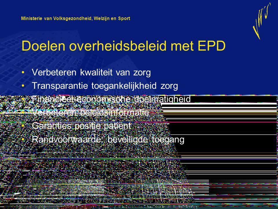 Ministerie van Volksgezondheid, Welzijn en Sport Doelen overheidsbeleid met EPD Verbeteren kwaliteit van zorg Transparantie toegankelijkheid zorg Fina