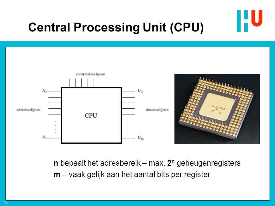 15 n bepaalt het adresbereik – max. 2 n geheugenregisters m – vaak gelijk aan het aantal bits per register Central Processing Unit (CPU)