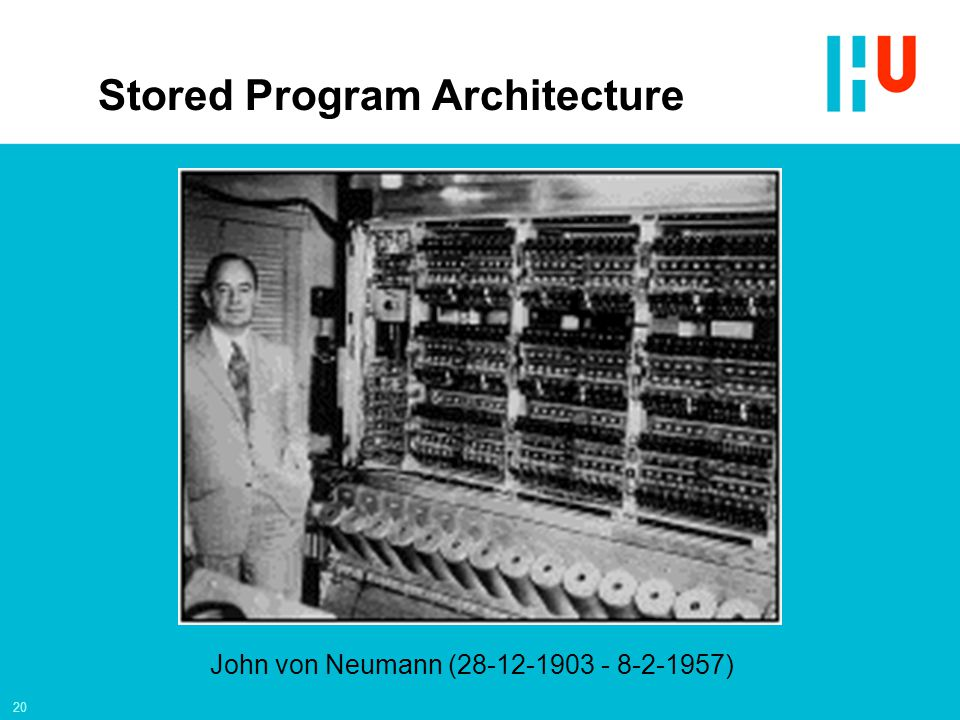 20 John von Neumann (28-12-1903 - 8-2-1957) Stored Program Architecture