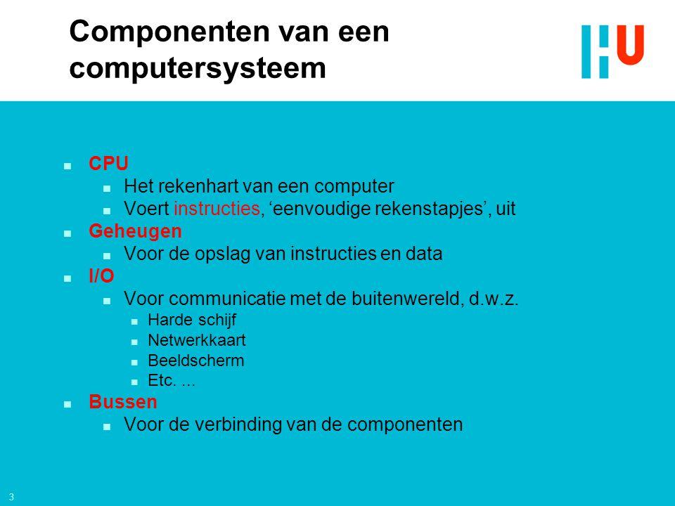 3 Componenten van een computersysteem n CPU n Het rekenhart van een computer n Voert instructies, 'eenvoudige rekenstapjes', uit n Geheugen n Voor de