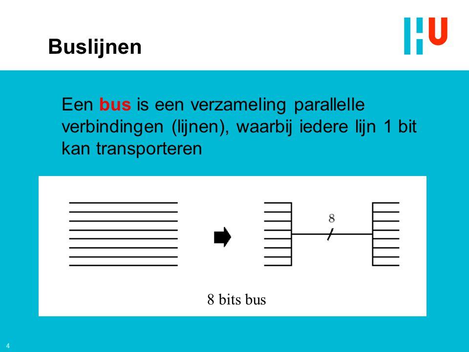 4 8 bits bus Buslijnen Een bus is een verzameling parallelle verbindingen (lijnen), waarbij iedere lijn 1 bit kan transporteren