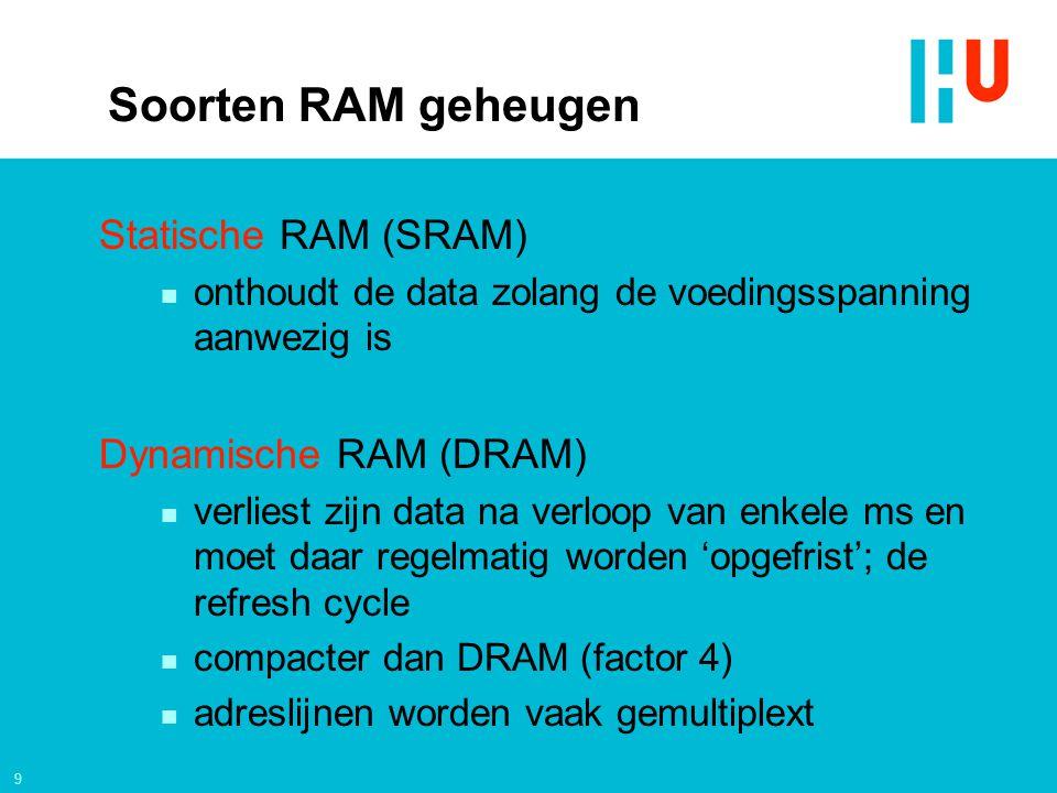 9 Soorten RAM geheugen Statische RAM (SRAM) n onthoudt de data zolang de voedingsspanning aanwezig is Dynamische RAM (DRAM) n verliest zijn data na ve