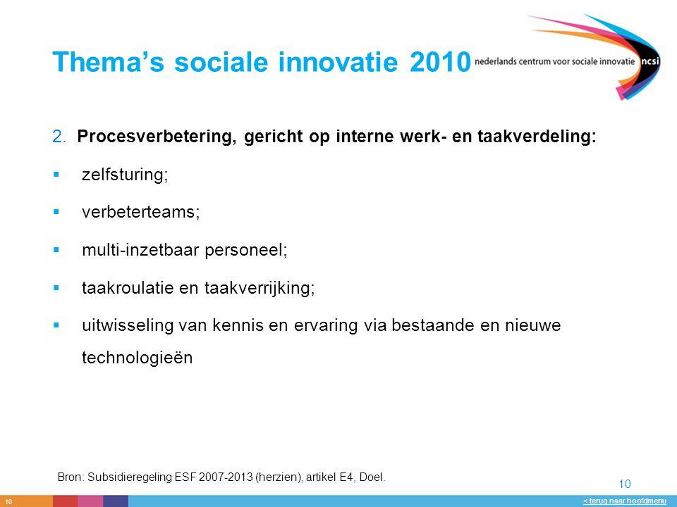10 < terug naar hoofdmenu 10 Thema's sociale innovatie 2010 2.