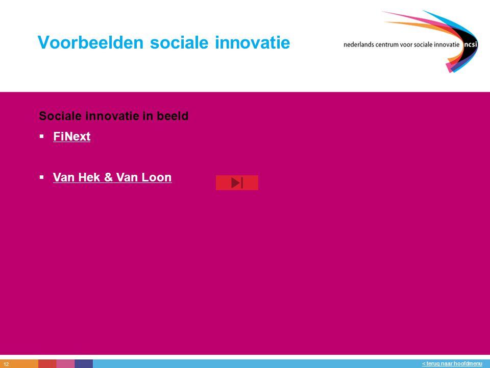 12 < terug naar hoofdmenu Voorbeelden sociale innovatie Sociale innovatie in beeld  FiNext FiNext  Van Hek & Van Loon Van Hek & Van Loon