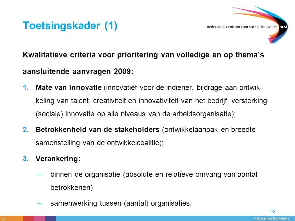 18 < terug naar hoofdmenu 18 Toetsingskader (1) Kwalitatieve criteria voor prioritering van volledige en op thema's aansluitende aanvragen 2009: 1.Mate van innovatie (innovatief voor de indiener, bijdrage aan ontwik- keling van talent, creativiteit en innovativiteit van het bedrijf, versterking (sociale) innovatie op alle niveaus van de arbeidsorganisatie); 2.Betrokkenheid van de stakeholders (ontwikkelaanpak en breedte samenstelling van de ontwikkelcoalitie); 3.Verankering: –binnen de organisatie (absolute en relatieve omvang van aantal betrokkenen) –samenwerking tussen (aantal) organisaties;